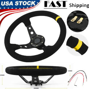 350mm Universal Rally Race Flat Drift Black Steering Wheel Sport Suede Leather
