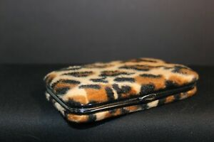 Business Card Holder Metal Case Covered In Fuzzy Leopard Print Fabric