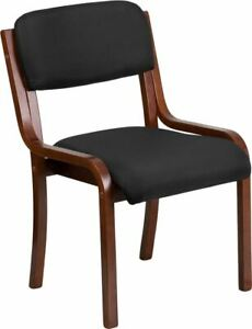 Durable Contemporary Walnut Wood Side Reception Chair W black Fabric Seat