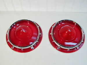 New 1957 Ford Fairlane Thunderbird Tail Light Lenses Bezels 1958 Ranchero