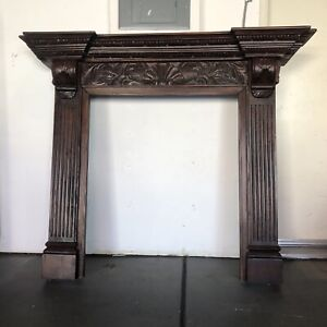 Vintage Wooden Fireplace Mantel Mantle Colonial Style Tectona 57 X10 25 X48 H