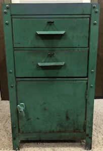 Vintage Green Industrial Metal 2 drawer 1 Door Cabinet Locker Stand Tool Heavy