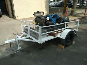 Heavy Duty Quincy Gas Powered Qt 15 Air Compressor On Custom Configured Trailer