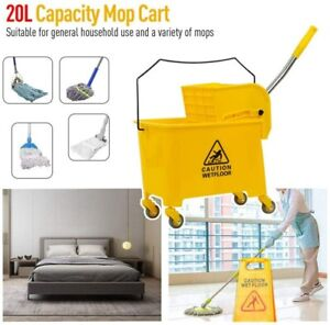Mini Mop Bucket W wringer Combo 5 Gallon Commercial Rolling Cleaning Cart Yellow