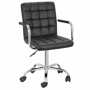 Office Chairs With Wheels Armrests Chair 360 swivel Modern Pu Leather Desk