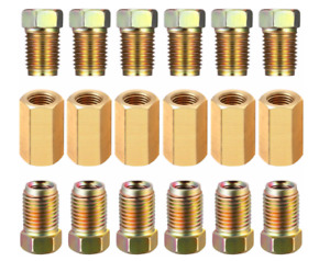 18 Piece 3 16 3 8 24 Inverted Brake Line Fittings Brass Unions