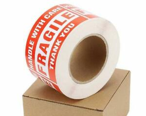 500 roll Fragile Stickers 3x5 Handle With Care Thank You Shipping Warning Labels
