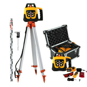 Ridgeyard 500m Self leveling Red Laser Level 360 Rotating Rotary W Tripod Staff