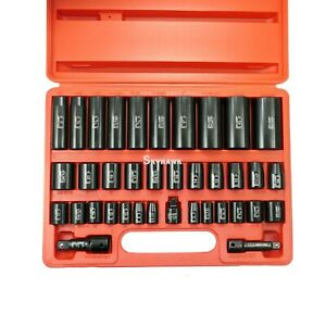 38pc 3 8 1 2 Dr Sae Metric Deep Shallow Impact Socket Adaptor Reducer