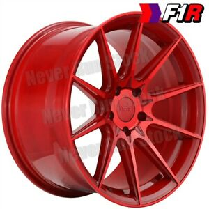 F1r F101 18 18x8 5 5x100 38 Offset Candy Red 10 Spokes Tuner 4 Wheels Set
