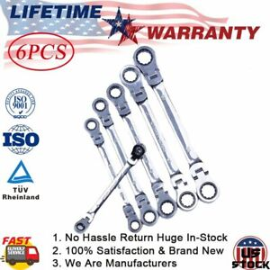 6 Normal Long Ratcheting Wrenches Spanner Set Double Box End Flex head Metric