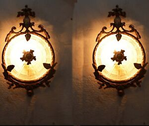 Pair French Antique Replica Ornate Brass Wall Sconces Appliques Lights