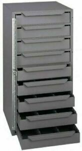 Van Truck Parts Storage Cabinet 9 Drawer Gray Steel Organizer Bits Nuts Bolts
