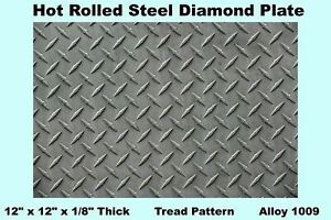 Steel Diamond Plate 12 X 12 X 1 8 Thick Hot Rolled Tread Pattern Alloy 1009
