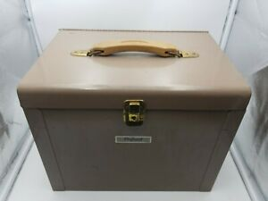 Vintage Oxford Pendaflex Industrial Metal File Box Tan Color No Key