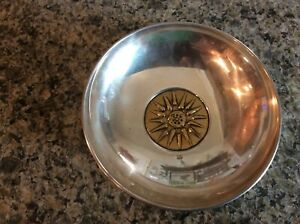 Antique Sterling Silver Small Bowl With Gold Color Accent Piece 4 1 4
