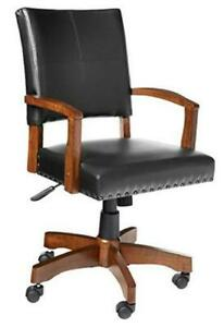 Deluxe Wood Bankers Desk Chair With Faux Leather And Antique Bronze Nailheads