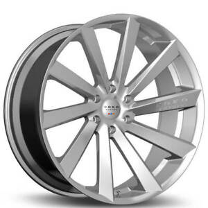4 20 Staggered Koko Kuture Wheels Kapan Gloss Silver Rims b43