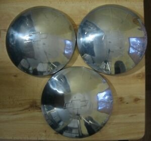 Lot Of 3 Vintage Chevy Logo Chrome Baby Moon Dog Dish Hubcaps