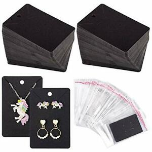 150 Pcs Necklace Earring Display Card With 200 Self seal Bags Holder Cards Tags