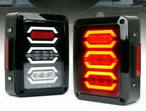 Clear Led Diamond Tail Lights With Black Housing Fit S 07 18 Jeep Wrangler Jk