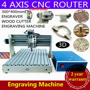 400w 4axis 3040 Cnc Router 3d Engraver Wood Engraving Milling Machine controller
