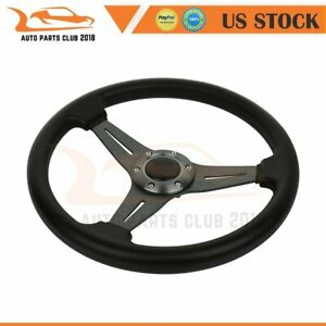6 Hole Aluminum 14 Flat Dish Racing Steering Wheel Red Quick Release Horn