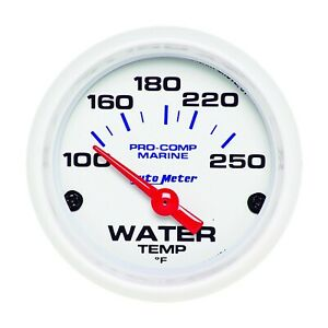 Auto Meter 2 1 16 Water Temp Gauge 100 250f White Phantom