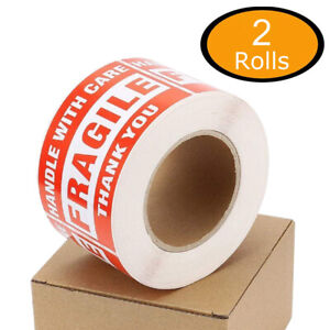 1000 Fragile Stickers 3x5 Handle With Care Thank You Shipping Warn Labels 2 Roll