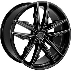 4 20 Staggered Lexani Wheels Venom Gloss Black Machined Accents Rims b41