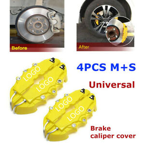 4pcs 3d Style Car Universal Disc Brake Caliper Covers Front Rear Kits Yellow