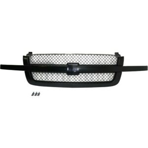 For Chevy Silverado 1500 2500 Hd Grille Assembly 2003 2006 Mesh Painted Black