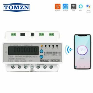 3 Phase Din Rail Wifi Smart Energy Meter Timer Power Consumption Monitor