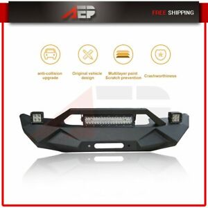New Complete Black Front Bumper For Jeep Wrangler Jk 2007 2018 Steel Us