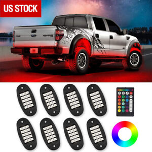 8pcs Rgb Cree Led Rock Light For Off Road Underglow Foot Wheel Well Light Truck