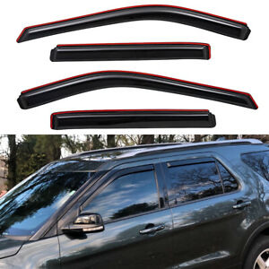 In Channel Window Vent Visors Sun Rain Wind Guards For 2011 2019 Ford Explorer