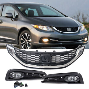 For 2013 2015 Honda Civic 4dr Sedan Front Fog Lights Lamps Chrome Trim Grille