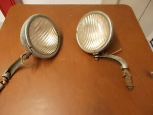 Vintage Chevy Ford Auxiliary Headlights Hot Rod Rat Rod Custom With Bracket