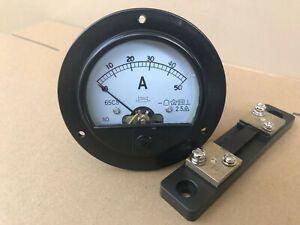 Us Stock 65c5 Dc 0 50a Analog Amp Current Pointer Needle Panel Meter Shunt
