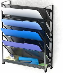 6 Tier Wall Mount Document Letter Tray Organizer Black New