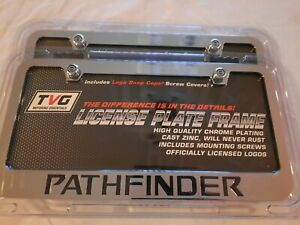 2 New Nissan Pathfinder Chrome Metal License Plate Frame With Screw Covers