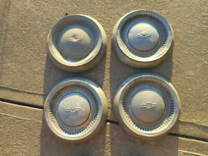 Set Of 4 1964 Full Size Chevy Dog Dish Hubcaps Caps Brass Belair Biscayne Impala