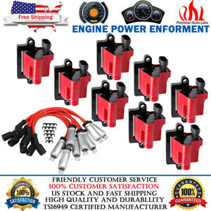 8 Pack Square Ignition Coil W Spark Plug Wire For Chevy Gmc 5 3l 6 0l 8 1l 4 8l