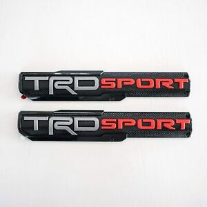 2pcs Trd Sport Fender Side Front Door Rear Tailgate Badge Nameplate Emblem