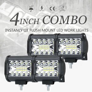 4pcs 4inch 800w Led Light Bar Spot Flood Pods Lights Off road Tractor 4wd 3