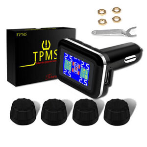 Car Tpms Wireless Tire Pressure Monitoring System Lcd 4 External Sensors