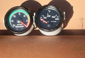 Vdo Cockpit Mechanical Vacuum Gauge Trans Oil Temp 2 1 16 Dia Black Face Nos