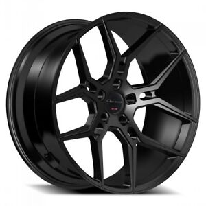 4 20 Staggered Giovanna Wheels Haleb Black Rims 4pcs set