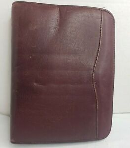 Day timer Leather Planner Brown 7 Ring Zipper Notebook Organizer Vintage 10 5x8
