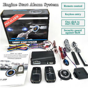 One Button Car Engine Start Push Button Keyless Entry Starter Alarm System Kit